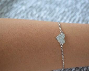 Heart bracelet. Cz silver heart bracelet. Sterling silver heart bracelet.
