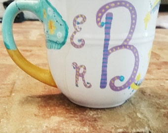 Hand painted monogrammed personalized coffee mug.