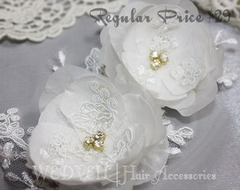 Flower Hair Clip for Wedding, with Lace