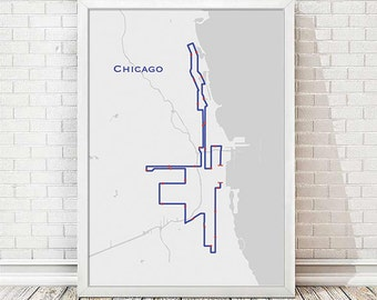 Chicago Marathon Map Art - Land and Water Outline