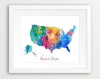 United States Print, United States Map, USA Map Watercolor Green Orange Pink Blue, Travel Map, Painting, Modern Wall Art, Printable Art