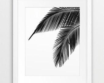 Palm Leaf Print, Palm Leaves Black, Tropical Leaf, Black And White Wall Art, Tropical Decor, Modern Wall Art, Nursery Decor, Printable Art