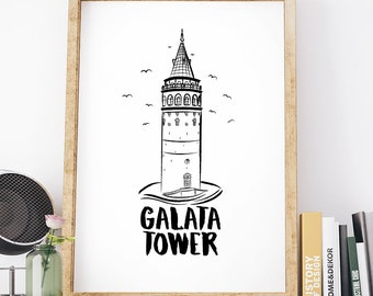 Galata Tower Poster, İstanbul, Illustrations, Typography, Home Poster, Gift Idea, Office Poster, Work Poster, Gift Poster, Wall Art Decor
