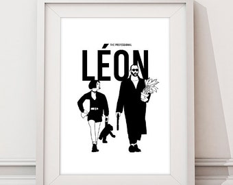 Léon: The Professional, Léon Poster, Mathilda, Jean Reno, Natalie Portman, Cult Original Art Poster Print, Illustrations, Typography