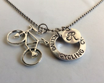 "Cycling necklace ,choose 18"" silver or  24 ""  stainless steel tough necklace,personal initial cycle,and cycling pendant"