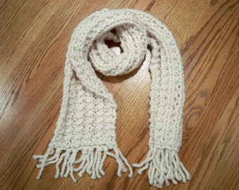 Brand New Beige Hand Knit Rolled Scarf
