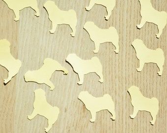 Pug Confetti - Pick your colors. Birthday party confetti, dog themed party, adoption event, pug party, pug die cuts, dog confetti.