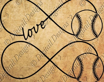 Baseball Infinity SVG Love png, dxf, eps Cut file for Silhouette and Cricut  SVG