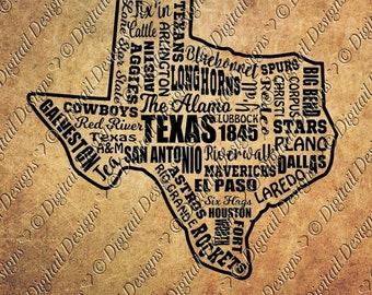 Texas State Word Cloud SVG PNG Dxf Fcm Eps Cut File Texas svg Printable clipart. Cut file for Silhouette, Cricut, SCAL Scan N Cut