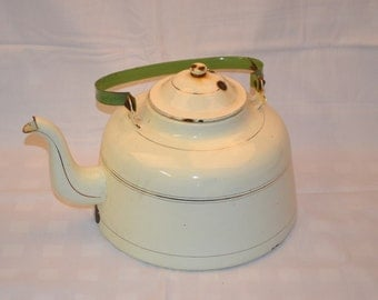 Off White Enamel Water Kettle