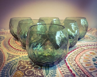 Vintage 1960's Mid Century Roly Poly Green Morgantown Driftwood 12 Oz. Set of 6 Glasses