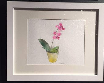Original watercolor orchid, gift under 50
