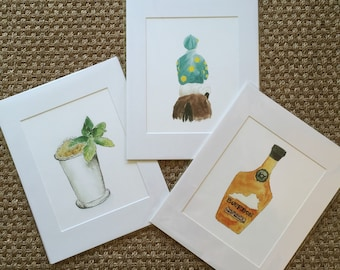 Prints matted and ready to be framed in a standard 11 x 14 frame, mint julep, jockey, bourbon, gift under 15, gift under 20