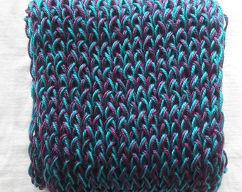 Wine & Hot Turquoise Hand Knitted Scarf