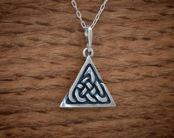 Celtic Trinity Knot Pendant - STERLING SILVER- Chain Optional