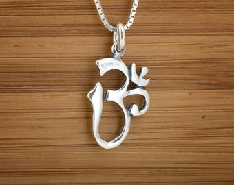 STERLING SILVER Ohm Charm - Om Namaste Charm or Earrings -  Chain Optional