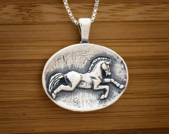 Horse Equestrian Dressage Pendant My Original- STERLING SILVER-  Chain Optional