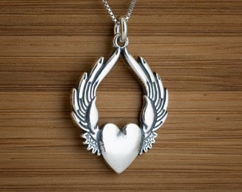 Winged Heart Wings Sufi My ORIGINAL Pendant or Earrings - STERLING SILVER- Chain Optional