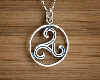 STERLING SILVER Celtic Triskelion Triskele Spirals Charm or Earrings  - Chain Optional
