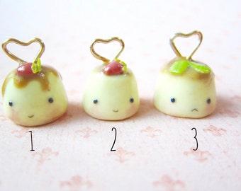 Kawaii Cute Polymer Clay Caramel Strawberry Flan Pudding Keychain Charm