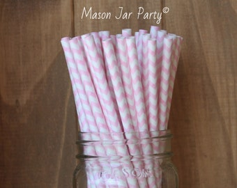 Pink Paper Straws, 25 Pink Chevron Straws, Baby Shower, Wedding, Cake Pop Sticks, Pink, Tableware, Pink Party Supplies, Mason Jar Straws USA