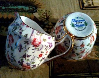 English Chintz Creamer and Sugar