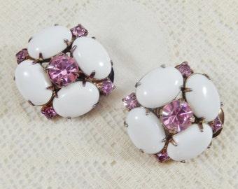 Vintage Milk Glass Pink Rhinestone Gold Tone Clip On Earrings