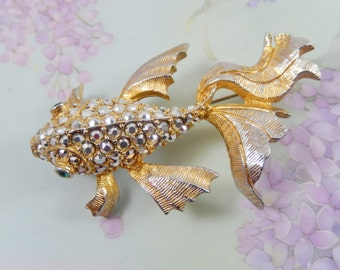 Wonderful Vintage Pave Silver Rhinestone Gold and Silver Tone Koi Fish Brooch Pin