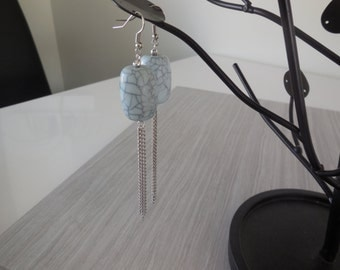 Blue powder and chains earrings