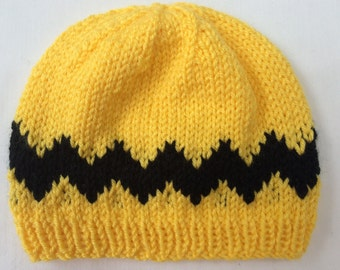 Charlie Brown Inspired Knit Hat/ Peanuts Inspired Beanie/ Baby-Adult