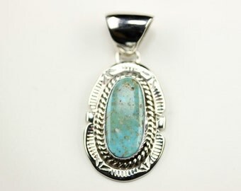Native American Navajo Sterling Silver Turquoise Pendant By C. Yazzie