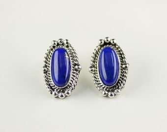 Native American Navajo .925 Sterling Silver Blue Lapis Post Earrings By Jan Mariano