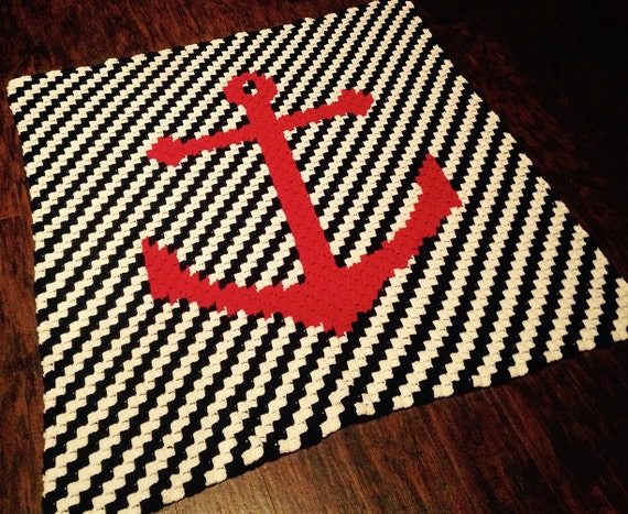 Crochet Patterns Nautical : Nautical Baby Blanket - C2C Crochet Pattern - Nursery Gift - Anchor ...