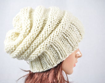 Cream beanie, Slouchy beanie, Wool hat, Handmade knit hat. Mens or womans slouch hat.chunky knit hat