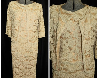 Vintage 50's 60's Lace Dress & Matching Jacket / Ribbon Lace Suit / Size XS / Wedding Mother of the Bride, Formal Party