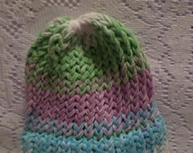 Small Toddler White, Green, Purple, And Blue Hand Made Knitted Hat, Knitted Beanie, Knit Hat, Winter Hat.