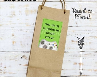 Video Game Digital Favor Tags or Stickers