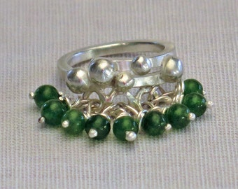 Ring in Silver 925 and green jade beads