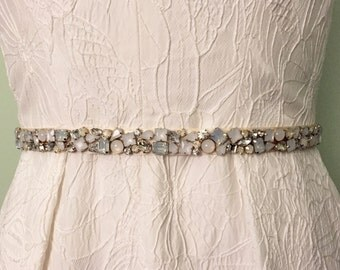 Ivory Skinny Scattered Crystal and Cloudy Opal Satin Ribbon Jewel Embellished Beaded Bridal Sash