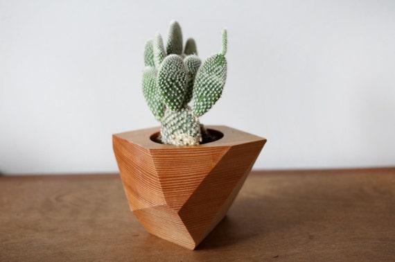 Geometric wood planter wood vase cactus holder airplants for Wooden cactus planter