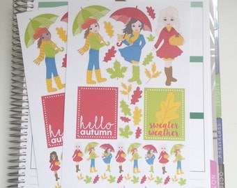 Autumn Girls Fall Planner Stickers African American Fall Autumn Fashion Girl Planner Stickers