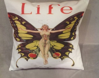 Butterfly 1920's 'The Flapper' cushion/pillow 16'' X 16''