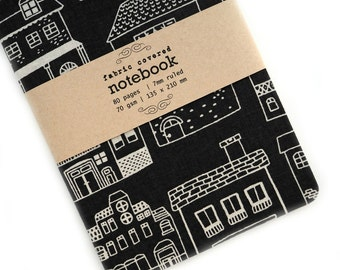 Black Houses Fabric Covered Notebook