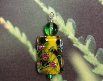 "Lamp work glass ""Spotted Garden"" pendant from CharmingHoopHangers"