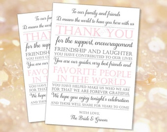 Wedding reception Thank you card Grey Pink (INSTANT DOWNLOAD) - Wedding thank you cards printable - To our family and friends