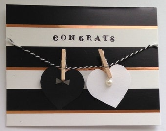 Bride & Groom Hearts on Clothesline Wedding Card