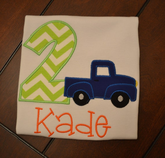 Little blue truck birthday shirt birthday shirt by for Little blue truck fabric