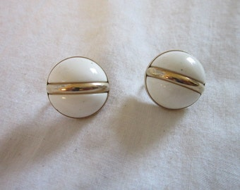 Vintage Designer Signed SARAH COV Gold Tone and White Large Half Ball Clip On Earrings