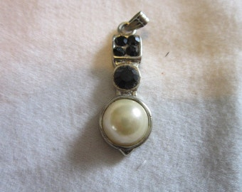 Vintage Faux Pearl & Rhinestone Necklace Pendant