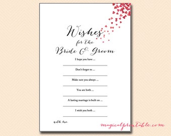 Wishes for the bride and groom card, Love Birds, Love is in the Air Bridal Shower Game Printables, Bachelorette, Wedding Shower Games BS139